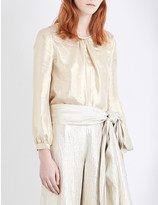 Oscar de la Renta Pleated metallic blouse