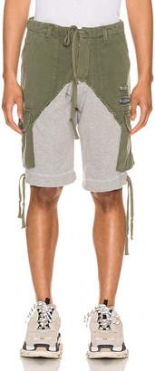 Greg Lauren Cargo Shorts in Army & Grey | FWRD