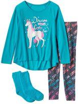 """Girls 4-16 SO® """"Dreams Can Come True"""" Unicorn Pajama Set"""
