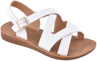 Belladia Girls' Sandals White - White Crisscross Chico Slingback Sandal - Girls