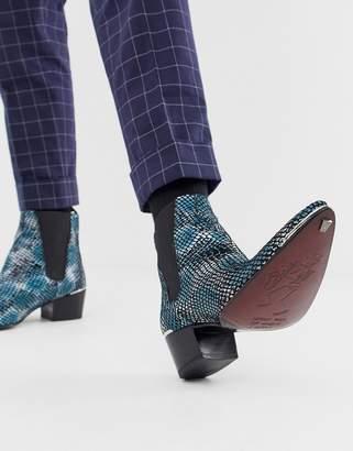 Jeffery West Sylvian cuban boots in blue snake