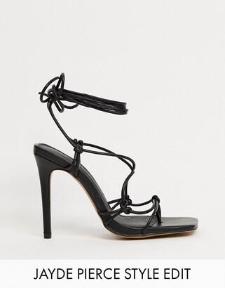 ASOS DESIGN Nicole strappy tie leg heeled sandals in black