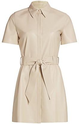 Nanushka Halli Vegan Leather Short-Sleeve Shirt Dress