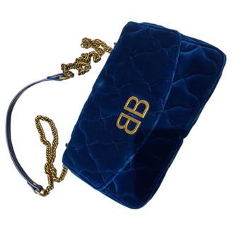 Balenciaga BB Round Blue Velvet Handbags
