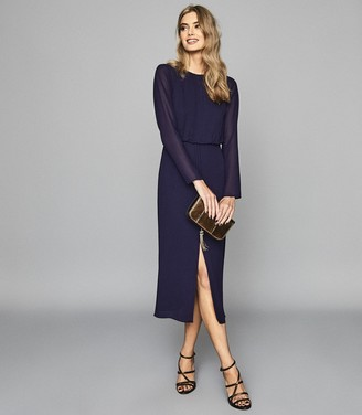 Reiss MYLEE Keyhole Midi Chiffon Dress Purple