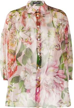 Dolce & Gabbana Floral-Print Sheer Shirt