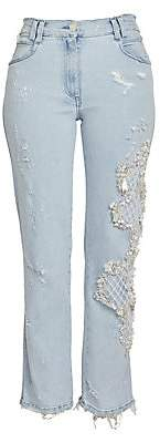 Balmain Women's Faux Pearl Embroidered Washed Straight-Leg Jeans