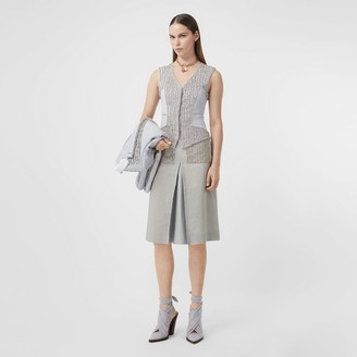 Burberry Crystal Embroidered Box-pleat Detail Linen A-line Skirt