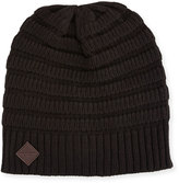 Cole Haan Ottoman Rib-Knit Beanie Hat, Black