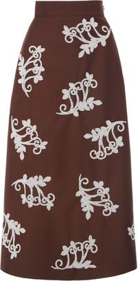 Prada Embellished Mohair-Blend Midi Skirt