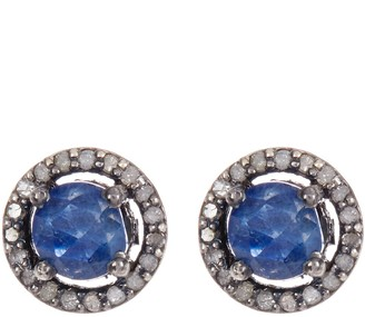 ADORNIA Sterling Silver Echo Blue Sapphire & Champagne Diamond Halo Stud Earrings - 0.38 ctw