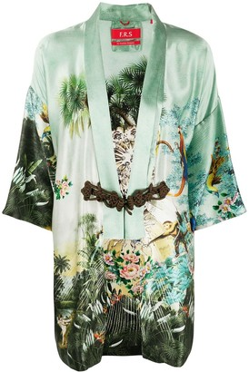 F.R.S For Restless Sleepers Short Sleeve Printed Silk Robe
