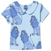 Mini Rodini Light Blue Lion Print Tee With Collar