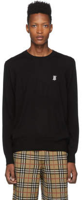 Burberry Black Merino Declan Crewneck Sweater