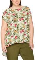 Ulla Popken Women's Longbluse MIT Tropischem Print T-Shirt,20