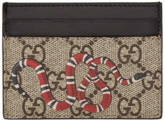 Gucci Beige GG Supreme Snake Card Holder