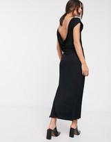 Asos Design DESIGN maxi t-shirt dress with cowl back in black