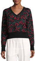 Chloé Cherry-Lace 3/4-Sleeve Sweater, Black