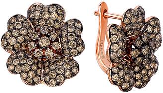 LeVian Le Vian 14K Rose Gold 2.93 Ct. Tw. Diamond Flower Earrings