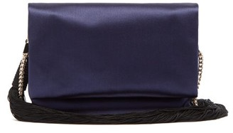 Galvan Tassel Chain-strap Satin Shoulder Bag - Navy