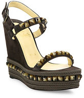 Christian Louboutin Cataclou Studded Suede Espadrille Platform Wedge Sandals