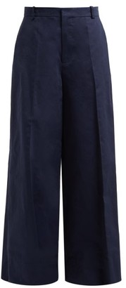 Marni Wide-leg Cotton-blend Trousers - Womens - Dark Blue