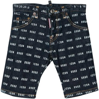 DSQUARED2 Dark Teen Denim Bermuda Shorts With Logo Trama