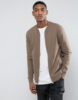 Asos Jersey Bomber Jacket In Stone
