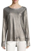 Halston Foiled Boat-Neck Easy Sweater, Marled Heather