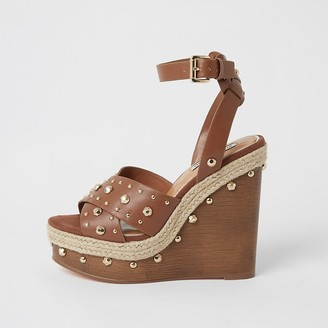 River Island Brown studded wooden wedge sandals