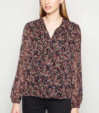 New Look Ditsy Floral Tie Frill Neck Blouse