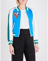 Maje Bianca hummingbird-embroidered bomber jacket