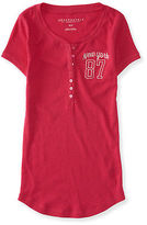 Aeropostale Womens New York 87 Ribbed Henley Shirt