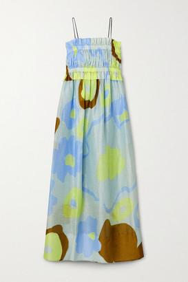Lee Mathews Kaho Shirred Printed Linen And Silk-blend Maxi Dress - Sky blue