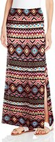 Eye Candy Junior's Printed Maxi Skirt with Foldover Waistband