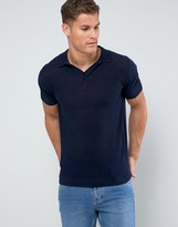 Mango Man Knitted Polo With Revere Collar In Navy