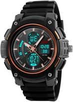 Fanmis Men's Analog Digital LED Watches Military Multifunctional Waterproof Quartz Sports Watch Rose Gold