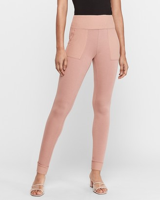 Express High Waisted Mixed Rib Ankle Leggings
