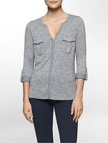 Calvin Klein Womens Heathered Cargo Long Sleeve Tee
