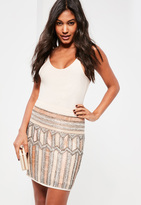 Missguided Nude Premium All Over Embellished Mini Skirt