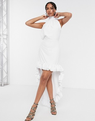 Moda Minx backless high low dress in white