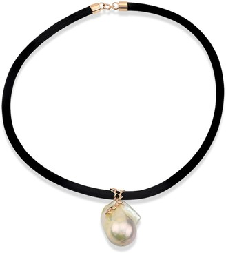 Leather Choker With Baroque Pearl