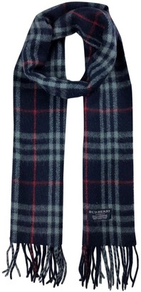 Burberry Navy Wool Scarves & pocket squares