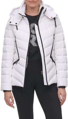 Karl Lagerfeld Paris Water Resistant Down & Feather Hooded Puffer Coat