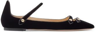 Jimmy Choo LAYTON FLAT Black Velvet Flat Pointed Toe Pumps