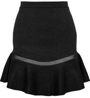 Alice + Olivia Daren Tulle-trimmed Metallic Stretch-knit Mini Skirt