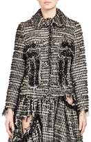 Simone Rocha Crystal-Embroidered Distressed Tweed Jacket
