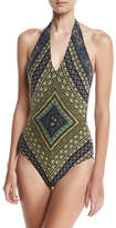 Fuzzi V-Neck Halter One-Piece Swimsuit, Sapphire
