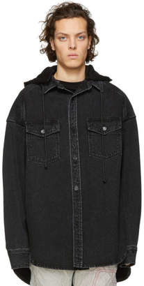 Juun.J Black Denim Oversized Shirt