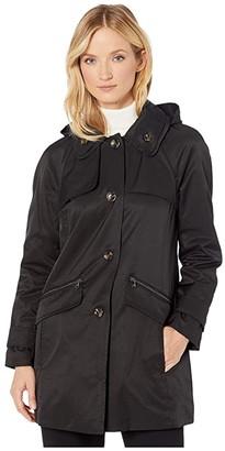 London Fog Beth Walker Coat with Removable Hood (Black) Women's Coat